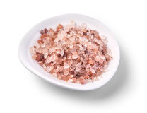 Pink salt on white Stock Images