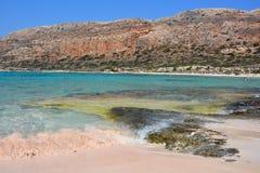 Pink sand of amazing Balos lagoon. Crete, Greece Royalty Free Stock Photos
