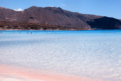 Pink sand beach with azure clear water of famous Elafonisi, Cret Stock Image