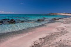 Pink sand in Elafonisi Beach Stock Photos