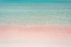 Pink sand and turquoise pristine water one Balos beach  in Crete Greece. Pink sand and turquoise pristine water one Balos beach  in Crete, Greece Royalty Free Stock Photo