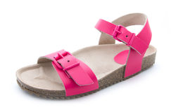 Pink sandal. Single pink sandal isolated on white background Royalty Free Stock Images