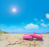 Pink sandals and bright sun Stock Images