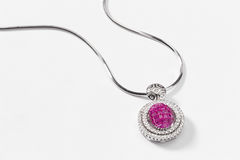 Pink Sapphire necklace. A pink sapphire necklace close up Royalty Free Stock Images