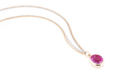 Pink sapphire necklace. Royalty Free Stock Photo