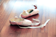 Pink Satin Ballet Pointe Shoes Royalty Free Stock Images
