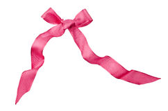 Pink satin bow isolated on white Stock Image
