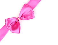 Pink satin bow and ribbon Stock Image