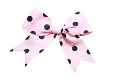 Pink satin gift bow. Isolated on white Stock Photo