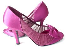 Pink Satin High Heels. Pink and burgundy Satin High heels with bow Royalty Free Stock Photos