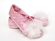 Pink Satin Slippers Royalty Free Stock Images