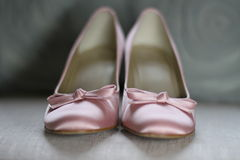 Pink satin Wedding shoes Stock Photography