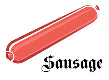 Pink sausage in cartoon style on white background Stock Photography