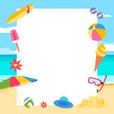 pink scallop seashell 与动画片元素的夏天概念 库存图片