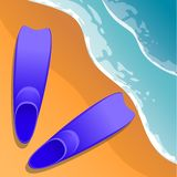 pink scallop seashell 在沙子的鸭脚板 在海岸视图之上 平的样式 动画片 向量 免版税库存图片