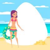 pink scallop seashell 有橡胶环的女孩 动画片样式 库存照片