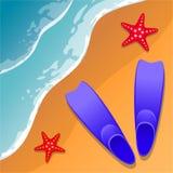 pink scallop seashell 鸭脚板和海星在沙子 在海岸视图之上 平的样式 动画片 向量 库存图片