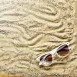 pink scallop seashell Strandhäftklammermatare och solglasögon Arkivbild