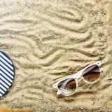 pink scallop seashell Strandhäftklammermatare och solglasögon Royaltyfria Foton