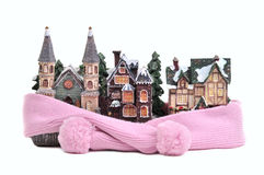 Pink scarf around houses - conceptual view Royalty Free Stock Image