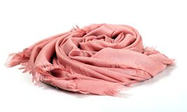 Pink scarf. Beautifull pink scarf isolated on white background Royalty Free Stock Photos