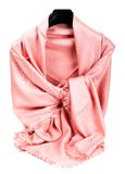 Pink scarf. Beautifull pink scarf isolated on white background Royalty Free Stock Images