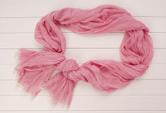 Pink scarf tippet  is on show-case,  silk and cotton Stock Photography
