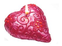 Pink scented aroma candle heart shape Royalty Free Stock Images