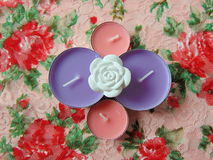 Pink scented candles with white flower in the middle. On flower background Royalty Free Stock Image