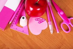 Pink school accessories Royalty Free Stock Image