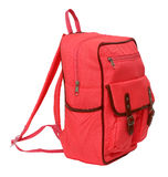 Pink school backpack isolated. On white background Stock Photography