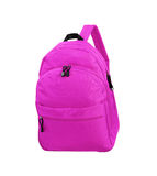 Pink school backpack isolated on white Royalty Free Stock Images