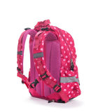 Pink school backpack with white dots isolated on white stock photos