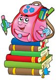 Pink school bag on books. Color illustration Royalty Free Stock Image