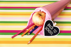 Pink school bag with text back to school Stock Images