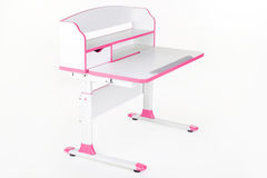Pink school desk. Is isolated on a white background Royalty Free Stock Photo