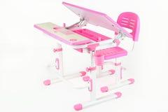 Pink school desk Stock Images
