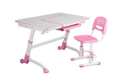 Pink school desk and pink chair Royalty Free Stock Photo