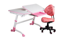 Pink school desk and pink chair Stock Photos