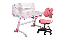 Pink school desk and pink chair Royalty Free Stock Photography