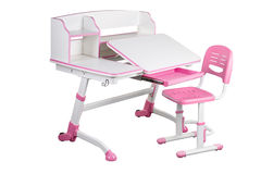 Pink school desk and pink chair Royalty Free Stock Photos