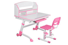 Pink school desk and pink chair Stock Photo