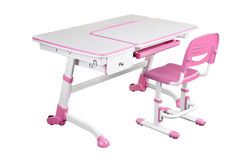 Pink school desk and pink chair Royalty Free Stock Image