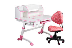 Pink school desk and pink chair Stock Image