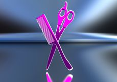 Pink scissors and comb. The subject of hairdressers. 3D illustration Stock Photo