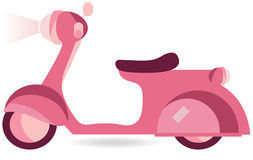 Pink Scooter. Vector retro Pink scooter isolated against white background Stock Images