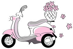 Pink scooter with flowers Royalty Free Stock Image
