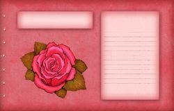 Pink scrap paper with rose Stock Image