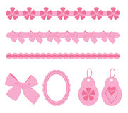 Pink scrapbook elements Stock Photo