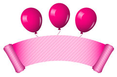 Pink scroll with balloons Royalty Free Stock Images